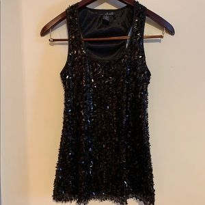 Willi Smith Black Sequined Racerback Tank Top S